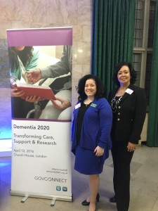 Lynn Biot Gordon, COO of the NCCDP, and Sandra Stimson, CEO, at the Dementia 2020 Conference, London, England.