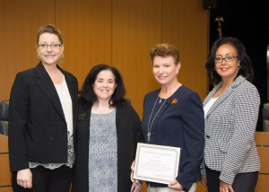 Educator of the Year, Ivette Rivera-Ortiz (second from right) with from left: Michelle Dionne-Vahalik, Director, Quality Monitoring Program and Initiatives, Texas Dept. of Health and Human Services, Sandra Stimson, CEO, NCCDP, and Lynn Biot Gordon, COO, NCCDP