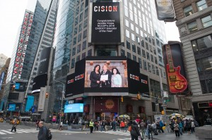 Check us out on the Times Square banner!  Congratulations, again, to Jennifer Krupa!