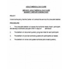 Dietary Consultant Policy and Procedure